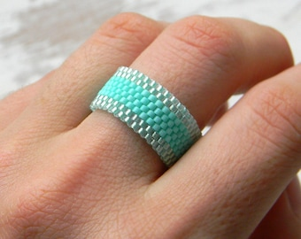 Turquoise ring Beaded ring Seed bead ring Turquoise peyote ring Bead woven ring Delicate turquoise ring Custom size ring Middle finger ring