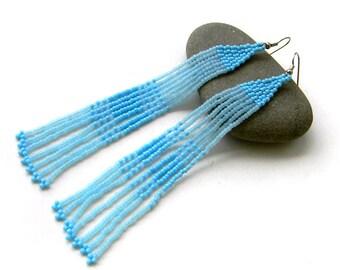 Long blue earrings Extra long beaded earrings Blue fringe earrings Dainty earrings Fringe beaded earrings Long fringe earrings Light blue
