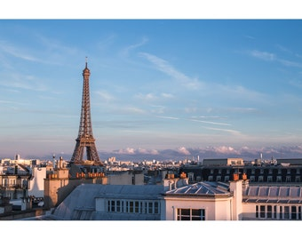 Paris Skyline with Eiffel Tower Printed Photography