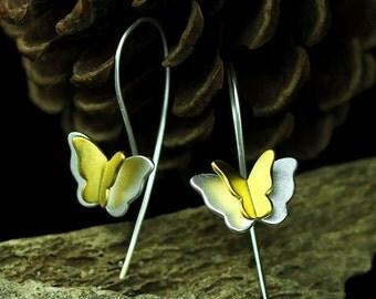 Sterling silver butterfly earrings,butterfly dangle earrings,butterfly hoop earrings,animal earrings,minimal dangle earrings, animal lover
