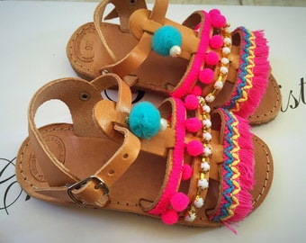 Leather Sandals Girls, Gladiator Sandals Girls, Boho Sandals Girls, Made in Greece From Genuine Leather by Christina Christi Jewels.