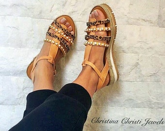 Leather Gladiator Sandals, Greek Leather Sandals, Summer Shoes, Animal Print Color, Handmade in Athens, Greece by Christina Christi Jewels.