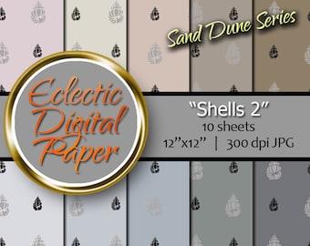 Digital Paper Seashell, Shell Digital Paper Beach, Nautical Digital Paper, Summer Digital Paper Pack, Seaside Digital Paper Bundle