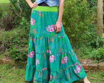 Floral Bouquet Dreamy Tiered Maxi Skirt size Small