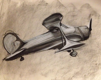 Airplane Study - Charcoal Drawing - Print - 11x14