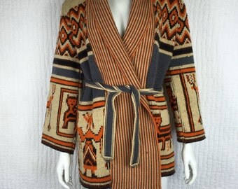 Vtg 70s Sabra knit sweater jacket southwestern navajo american indian ethnic wrap