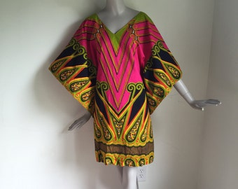 Vtg 70s cotton dashiki african ethnic mini dress caftan Medium