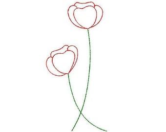 Machine embroidery poppy flower