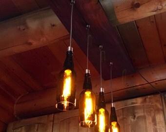 Rustic Walnut Wood and Beer Bottle Pendant Light