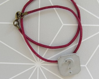 Concrete question mark leather bracelet