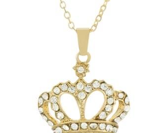Gold Crown Necklace Queen's Faux Diamonds Pendant - Elegant Gift Box