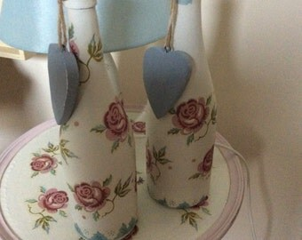 Decoupaged Bottles with Emma Bridgewater Rose and Bee pattern