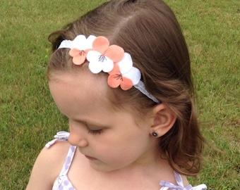 Pretty Peach Pansy Headband
