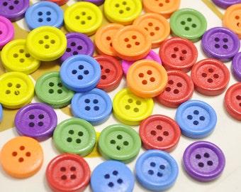 15mm Plain Wood Buttons Pack of 50pcs Mix color Buttons.