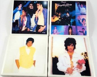 Prince-Michael Jackson/Purple Rain/Thriller/Tile Coasters/Michael/Formally Known as Prince/Coasters/Barware/Drinkware/Christmas/Music/Icons