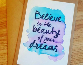 Watercolour card with inspirational quote. Friendship card. Handmade.