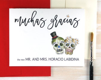 Spanish Wedding Thank You Cards, Mexican Sugar Skulls Gift, Dia de los Muertos, Day of the Dead Wedding Stationery Set of 10