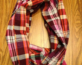 Plaid Pink Red Black White Homemade Infinity Scarf
