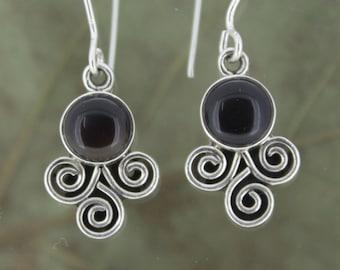 925 Sterling Silver Earrings - Black Onyx (cabution)