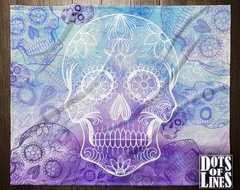 FLEECE BLANKET - Muertos Skull Sugar Water Color Blanket Bedding Skull Bedding Sugar Skull Blanket PURPLE throw Blanket Bedding Skull Throw