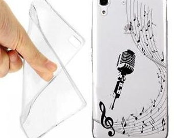 Microphone music note case cover for huawei y6 transparent