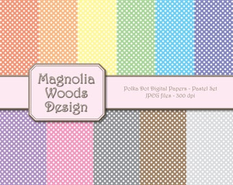 Polka Dot Digital Paper Pack, Pastel Small Polka Dot Digital Paper Pack, Pastel Rainbow Digital Paper Pack, Small Commercial Use Paper Pack