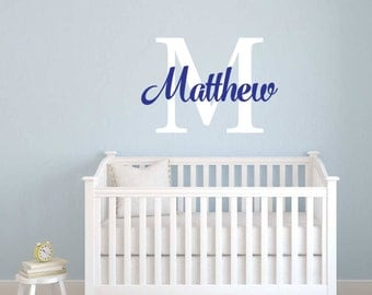 Personalized Name Nursery Baby room wall decal wall mural kids children available in 7 different sizes and 30 different colors 001