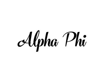 Alpha Phi decal vinyl window bumper Sorority greek letters laptop sticker available in 10 different sizes and 30 different colors