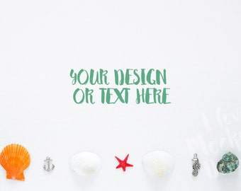 Sea Shells, Anchor, Seahorse and Red Starfish on a White Background / Stock Photography / Product Mockup / High Res File