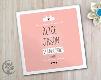 Wedding invitations - bunny rabbit love heart design - set of 50 square invites with envelopes - custom colours available