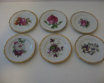 Vintage Chase hand-painted flowered butter plate set - Japan