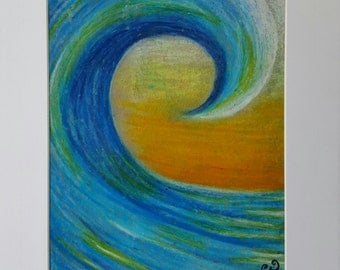 Sunset wave painting - oil pastel painting - original art - surf art - surf painting