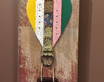 Repurposed Belt Wall Art -Air Balloon