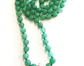 Green Aventurine with Silver Heart Pendant