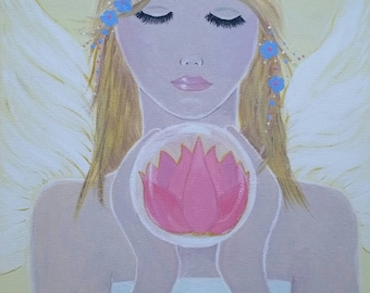 "Angel ""Lotus Meditation"" Painting"