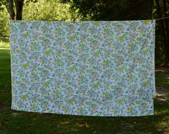 Vintage Floral Sears, Roebuck and Co. Perma-Prest Flat Sheet - Full Size