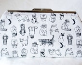 Clutch Bag - Purse - Hand Bag - Accessory Bag - Toiletry Bag - Handmade bag in cute cotton cat fabric with pink interior
