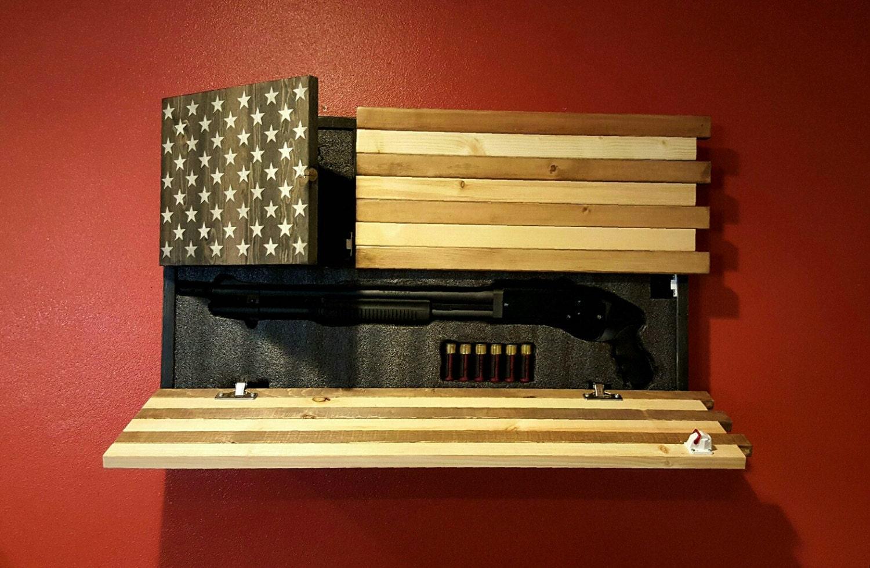 Gun Concealment Cabinet American Flag Dual Locking Doors