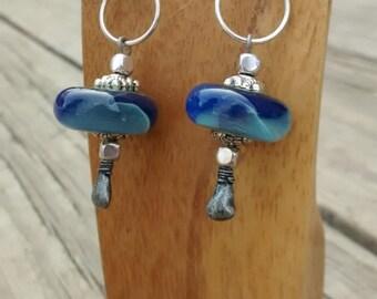 Handmade blue borosilicate glass earrings