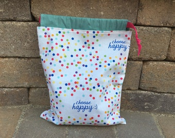 Choose Happy Drawstring Project Bag