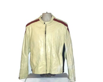 1960's Men's Large White Leather Cafe Racer Jacket with Red and Black Stripes