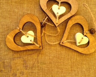 wooden hearts for shabby chic décor
