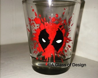 Super hero shot glasses, hand painted glasses, deadpool glass, shot glasses