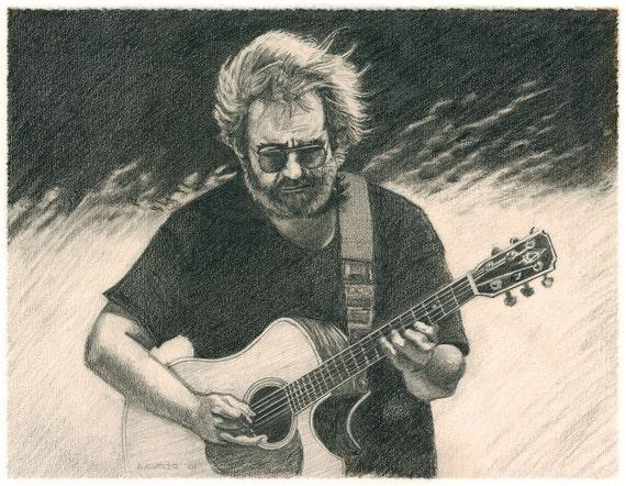 Harvesting Wind - Graphite Drawing of Jerry Garcia (Fine Art Giclée Print)