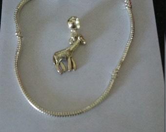 Pandora like giraffe charm bead