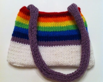 Rainbow knit purse - small