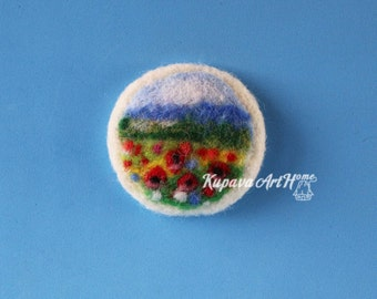 Poppies. Needle felted brooch. Wool felt brooch. Felted jewelry. Gift ideas. Gift for Her.