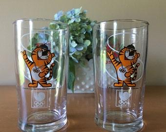 Hodori Tiger - 1983 Seoul Olympic Organizing Committee Glass - Set of 2