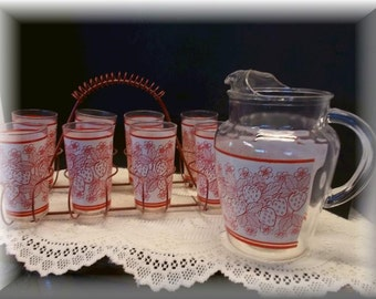 Vintage pitcher with 8 juice glasses with red metal carrier,  strawberry design, home and Living, Kitchen and Dining, Kitchen and Serving.