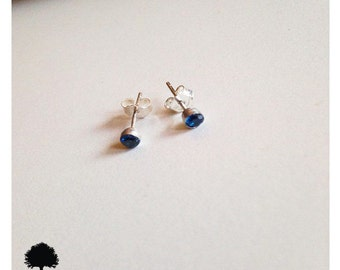 3mm Blue Sapphire Sterling Silver Cup Dainty Stud Earrings-
